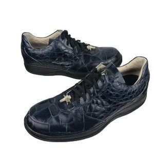 MAURI Men Lace Up Alligator Leather Sneakers